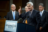 Photo - United States Senator Bill Cassidy (Republican of Louisiana) makes remarks after the vote on the motion to invoke cloture to proceed to the consideration of HR 3684 the INVEST in America Act on Capitol Hill in Washington DC on Wednesday July 28 2021 The vote to begin discussion of the bipartisan infrastructure bill agreed to by the White House was 67 to 32 If passed the bill would invest close to 1 trillion in roads bridges ports and other infrastructure without a major tax increaseCredit Rod Lamkey  CNPAdMedia