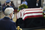 Photo - United States Senator Bill Cassidy (Republican of Louisiana) pays his respects to slain US Capitol Police officer William Billy Evans lies in honor during a ceremony at the Capitol in Washington Tuesday April 13 2021 Credit Susan Walsh  Pool via CNPAdMedia