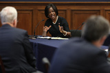 Photo - United States House Homeland Security Committee member US Representative Val Demings (Democrat of Florida) questions witnesses during a hearing on worldwide threats to the homeland in the Rayburn House Office Building on Capitol Hill September 17 2020 in Washington DC Committee Chairman Bennie Thompson (D-MS) said he would issue a subpoena for acting Homeland Security Secretary Chad Wolf after he did not show for the hearing An August Government Accountability Office report found that Wolfs appointment by the Trump Administration which has regularly skirted the Senate confirmation process was invalid and a violation of the Federal Vacancies Reform Act Credit Chip Somodevilla  Pool via CNPAdMedia