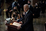 Photo - United States President Joseph R Biden Jr speaks during a lying in honor ceremony for US Capitol Police officer William Billy Evans in the Rotunda of the US Capitol in Washington DC on Tuesday April 13 2021Credit Amr Alfiky  Pool via CNPAdMedia