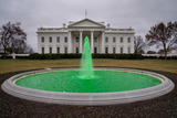 Photos From White House North Lawn Fountain Dyed Green for St. Patricks Day