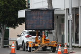 Photos From Beverly Hills Caltrans Changeable Message Sign Warning Amid Coronavirus COVID-19 Pandemic