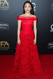 Photo - BEVERLY HILLS LOS ANGELES CA USA - NOVEMBER 04 Actress Constance Wu wearing a Rodarte dress with CSARITE by Karin Jamieson jewelry arrives at the 22nd Annual Hollywood Film Awards held at The Beverly Hilton Hotel on November 4 2018 in Beverly Hills Los Angeles California United States (Photo by Xavier CollinImage Press Agency)